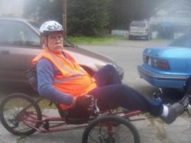 Larry Baxter on his adapted bike